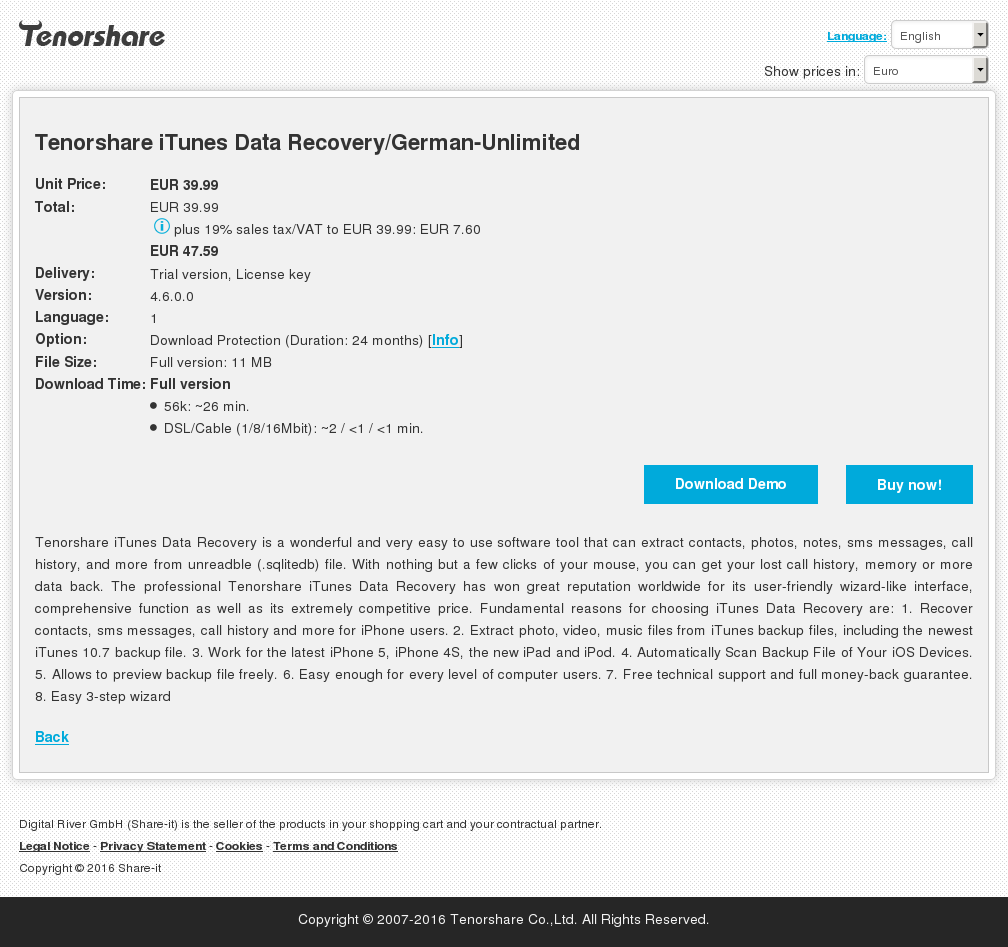 Tenorshare Itunes Data Recovery German Unlimited Alternative