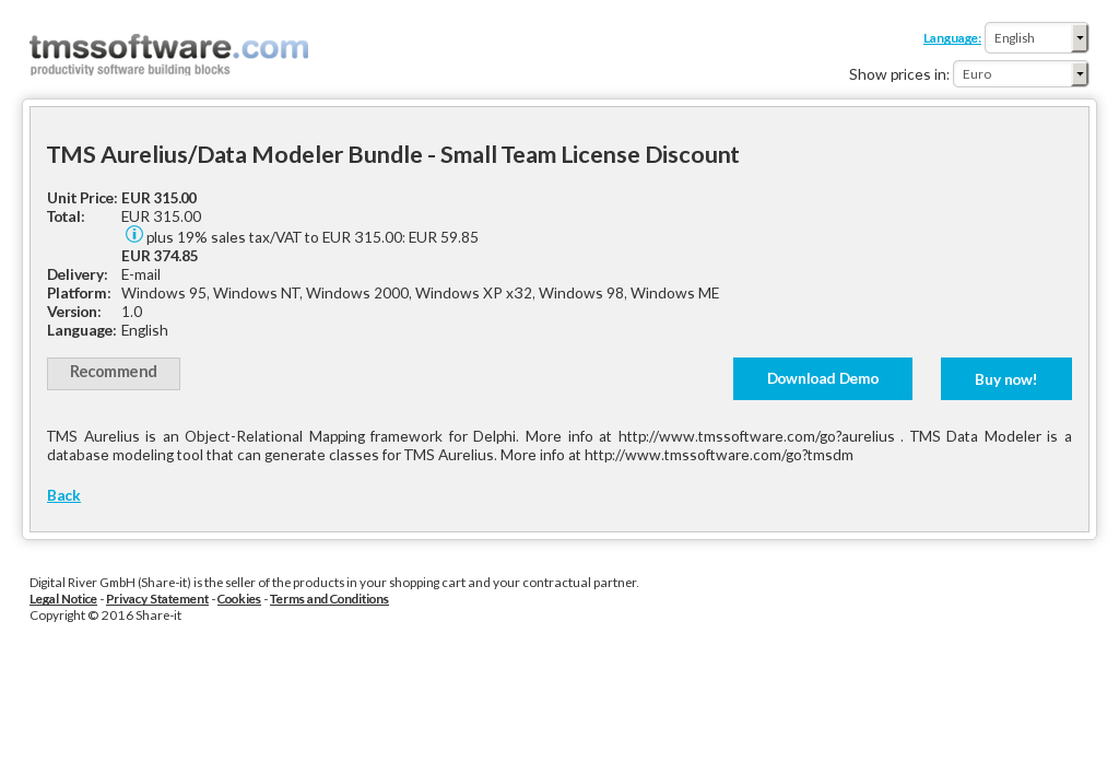 Tms Aurelius Data Modeler Bundle Small Team License Discount