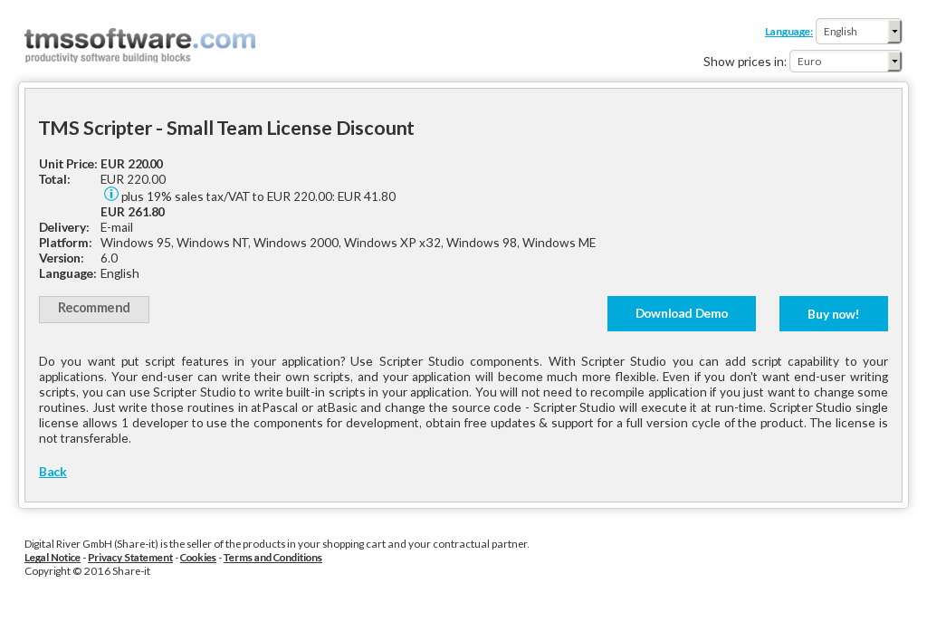 Tms Scripter Small Team License Discount