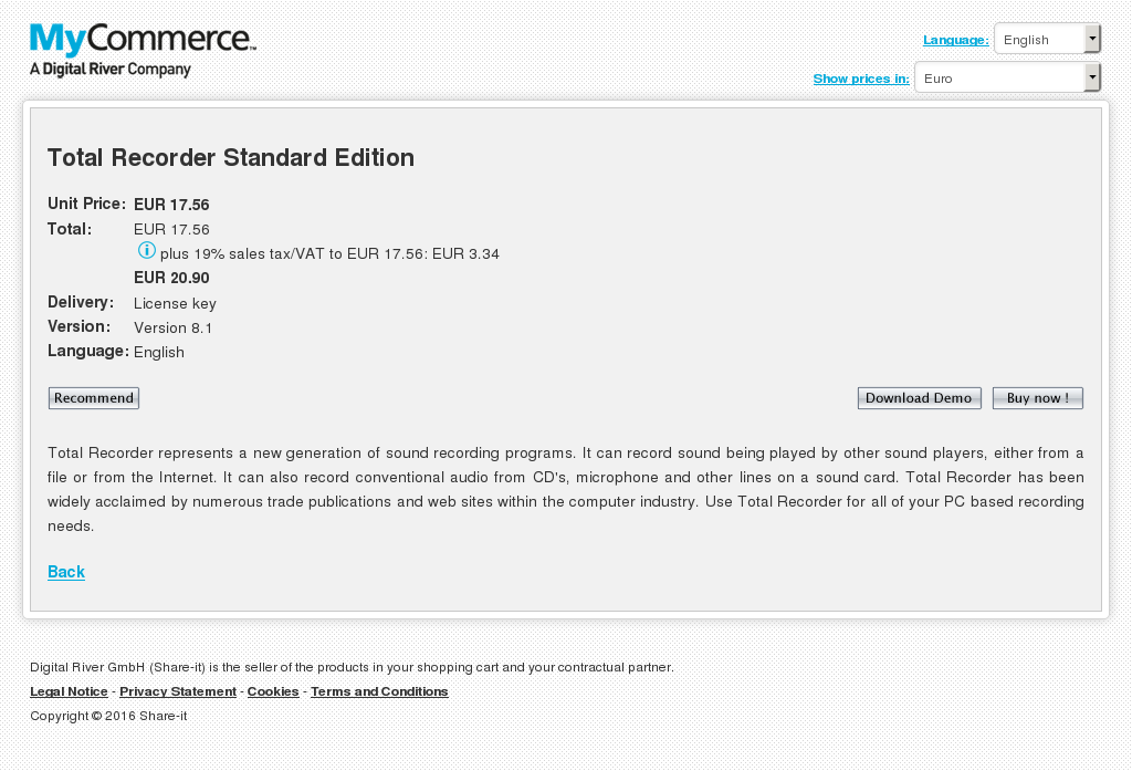 Total Recorder Standard Edition Free