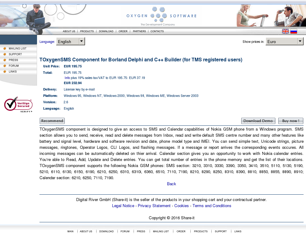 Toxygensms Component Borland Delphi Builder Tms Registered Users