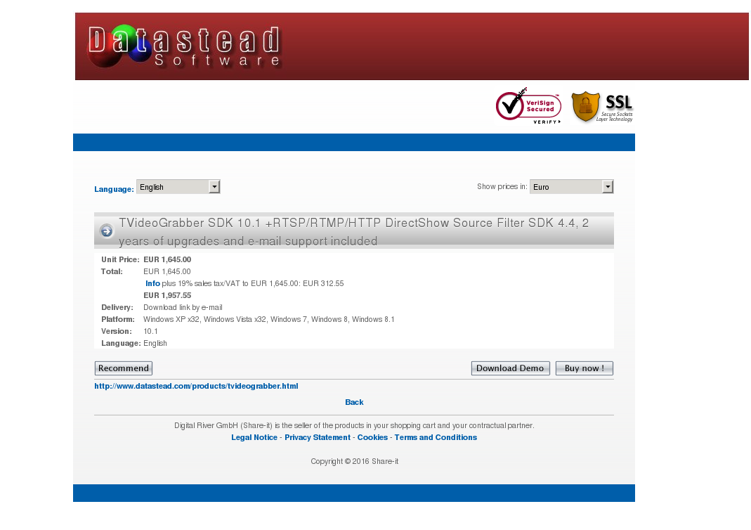 Tvideograbber Sdk Rtsp Rtmp Http Directshow Source Filter Years Upgrades Mail Support Included