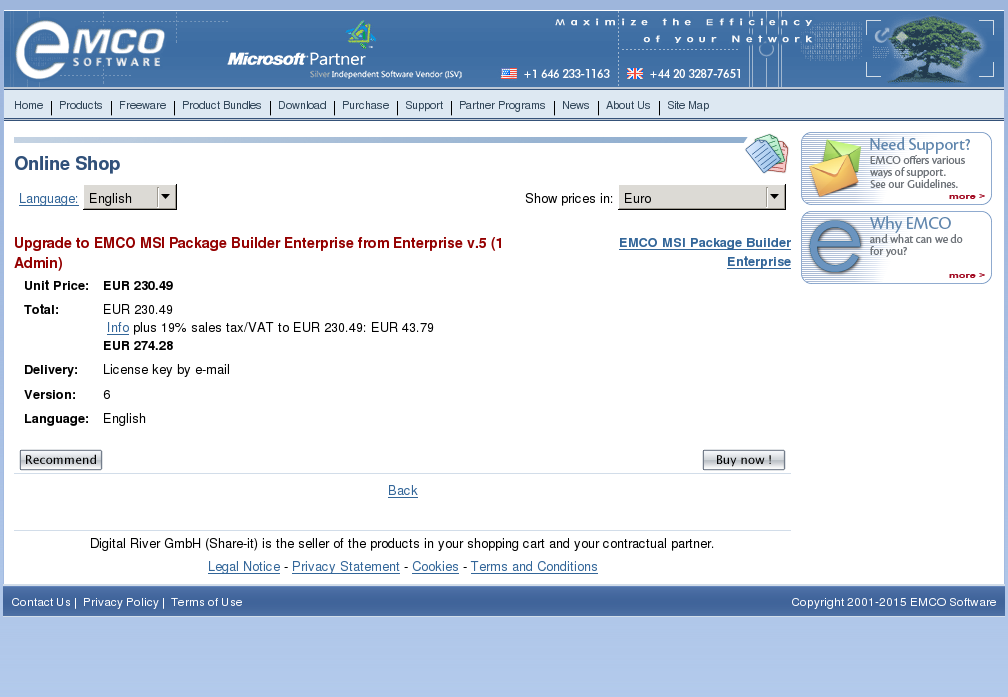 Upgrade Emco Msi Package Builder Enterprise From Admin Features