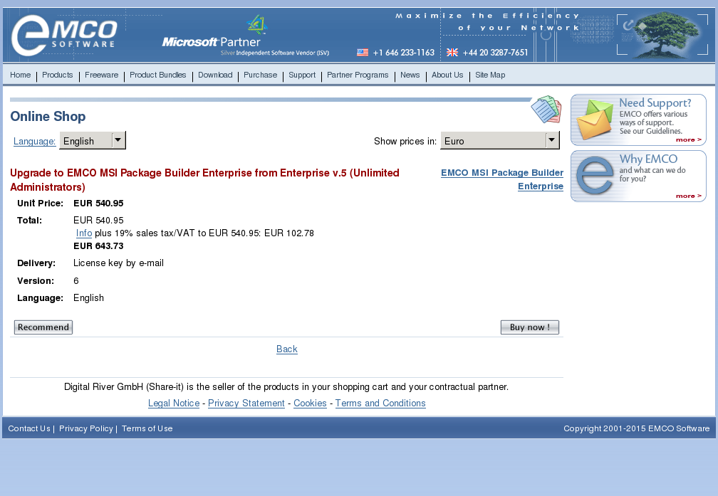 Upgrade Emco Msi Package Builder Enterprise From Unlimited Administrators Features