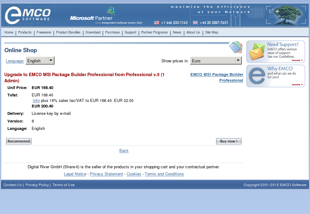 Upgrade Emco Msi Package Builder Professional From Admin Features