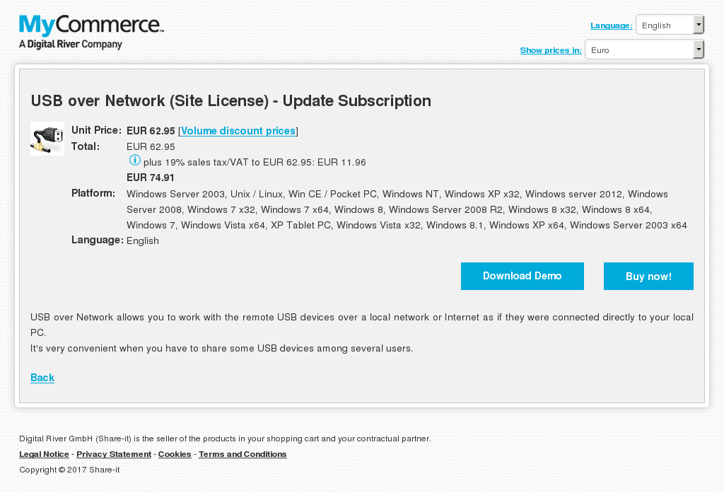 Usb Over Network Site License Update Subscription Features