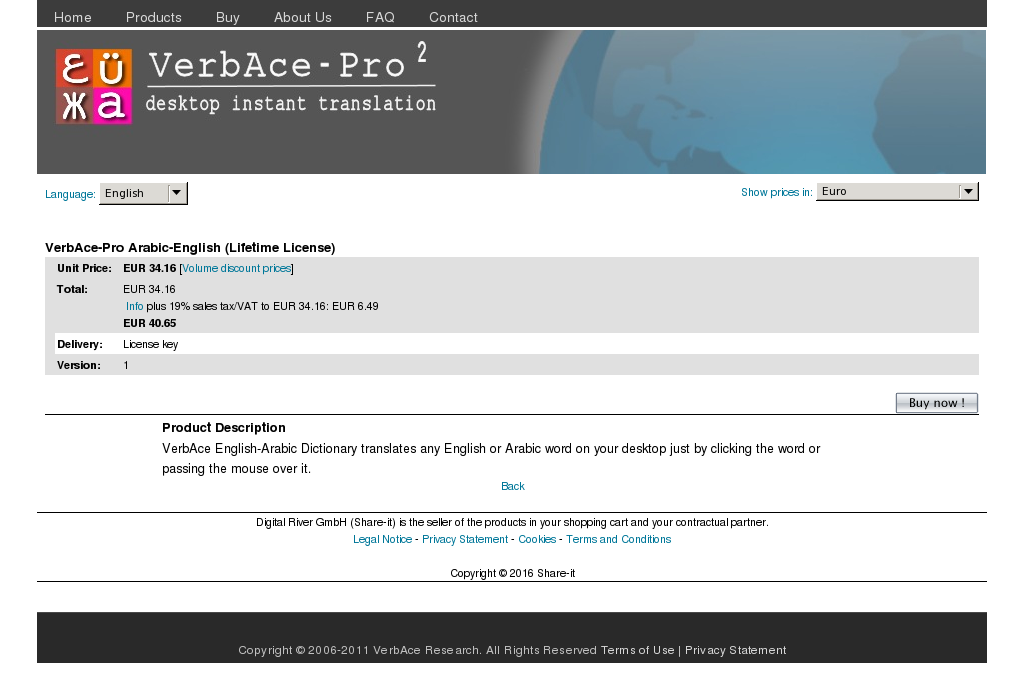 Verbace Pro Arabic English Lifetime License Key Information