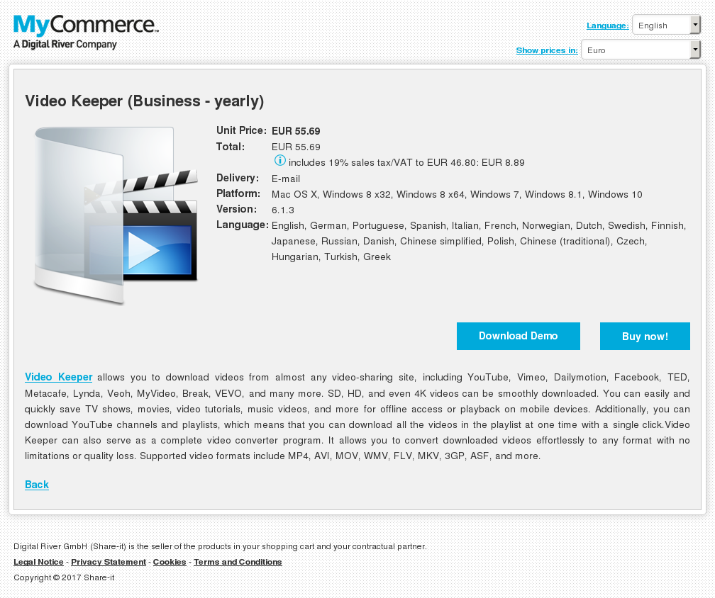 Video Keeper Business Yearly Howto