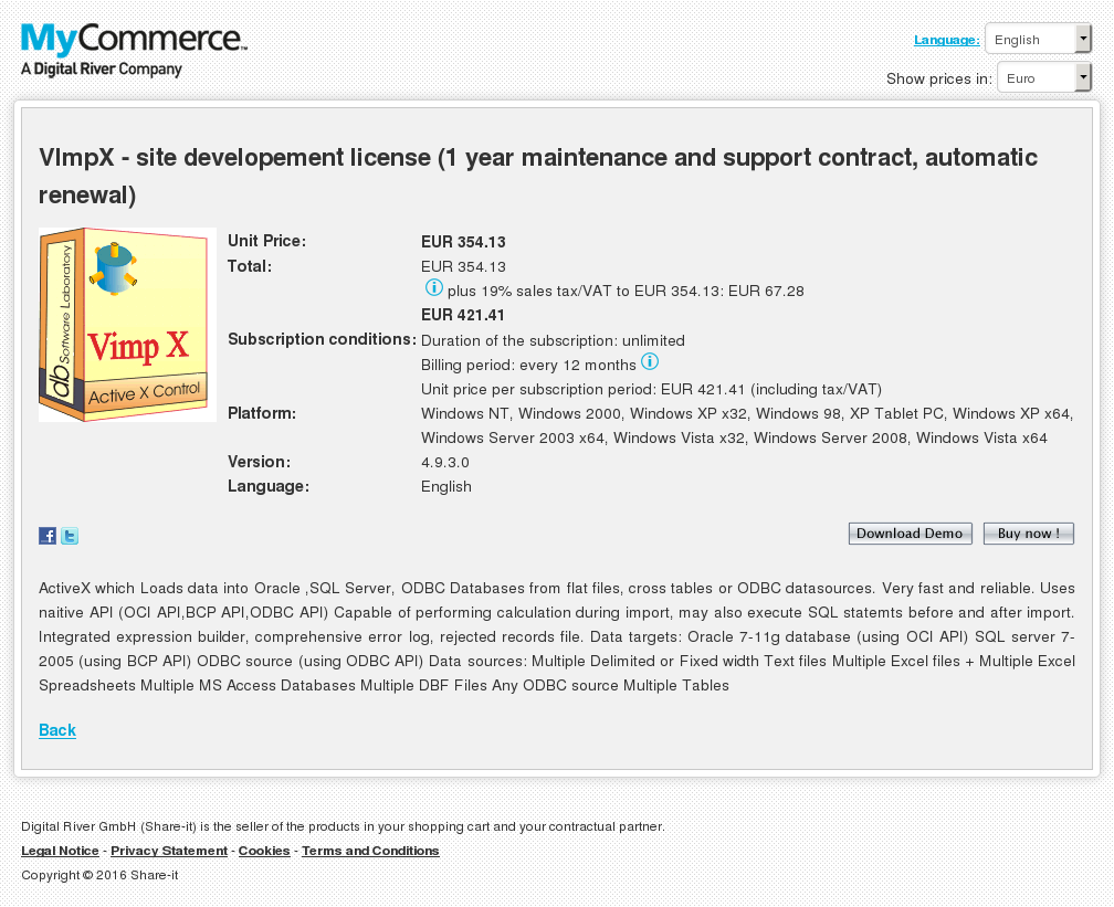 Vimpx Site Developement License Year Maintenance Support Contract Automatic Renewal