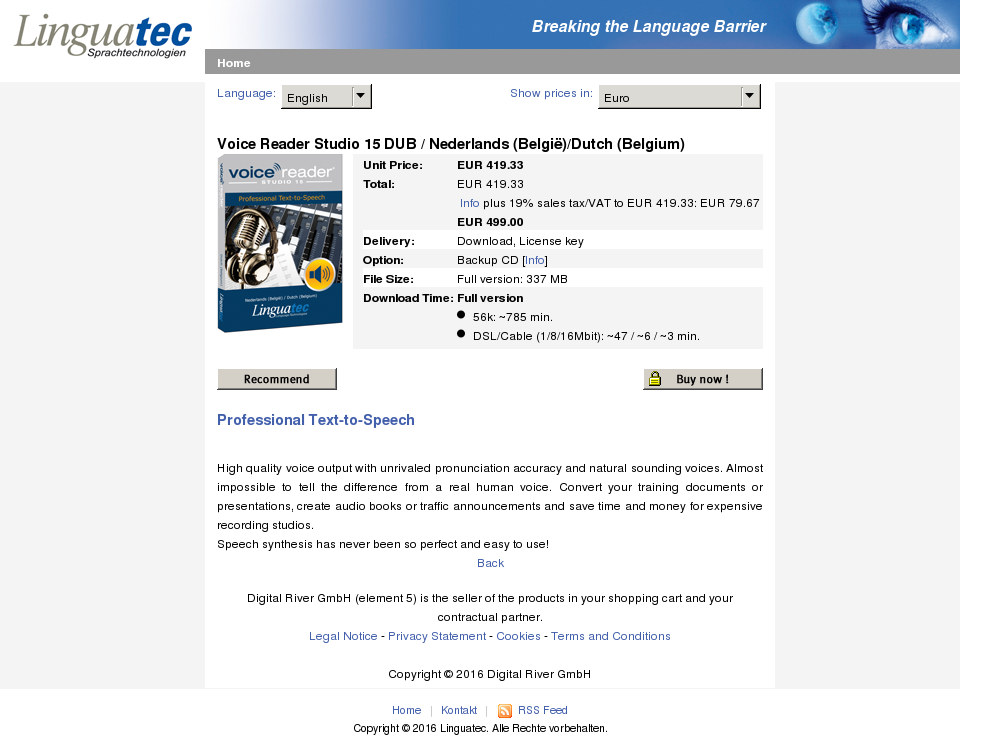 Voice Reader Studio Dub Nederlands Belgi Dutch Belgium Download