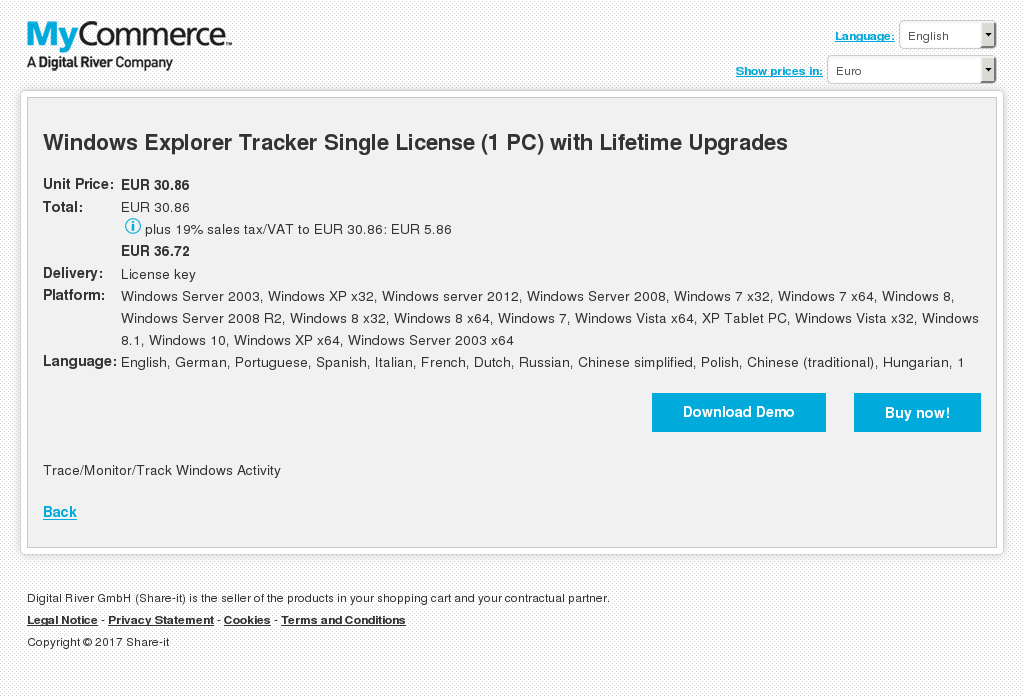 Windows Explorer Tracker Single License With Lifetime Upgrades Features