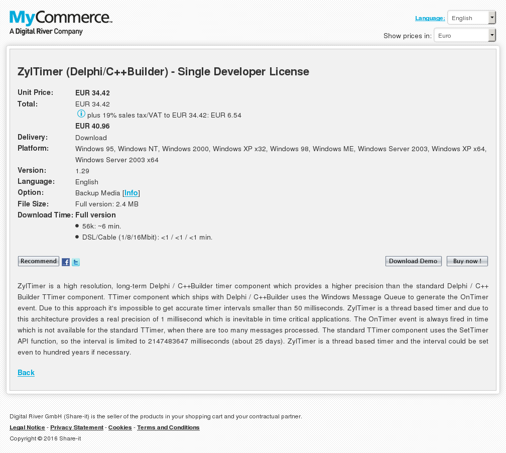 Zyltimer Delphi Builder Single Developer License