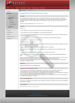 RTSP/RTMP/HTTP DirectShow Source Filter 4 5 Royaltyfree Developer License 2 Years Of Upgrades And Email Support Included preview. Click for more details
