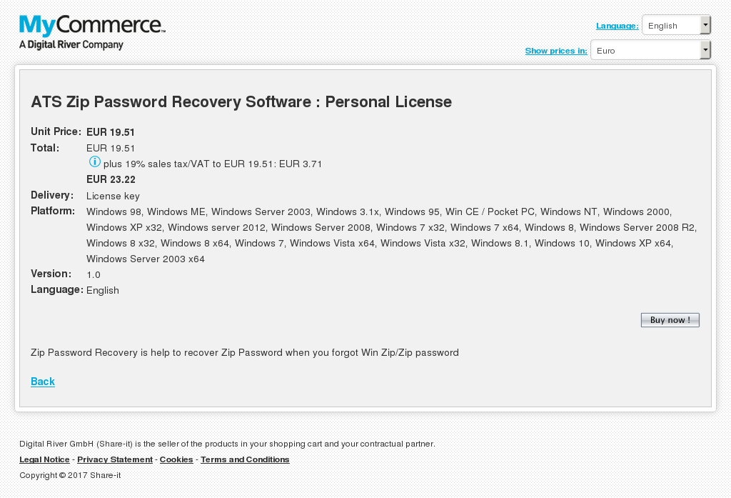 Ats Zip Password Recovery Software Personal License Features