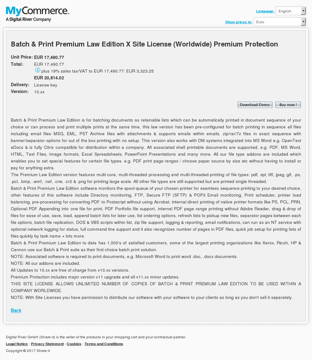 Batch Print Premium Law Edition Site License Worldwide Protection Free