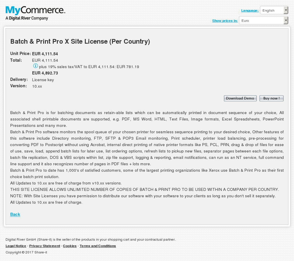 Batch Print Pro Site License Per Country Download