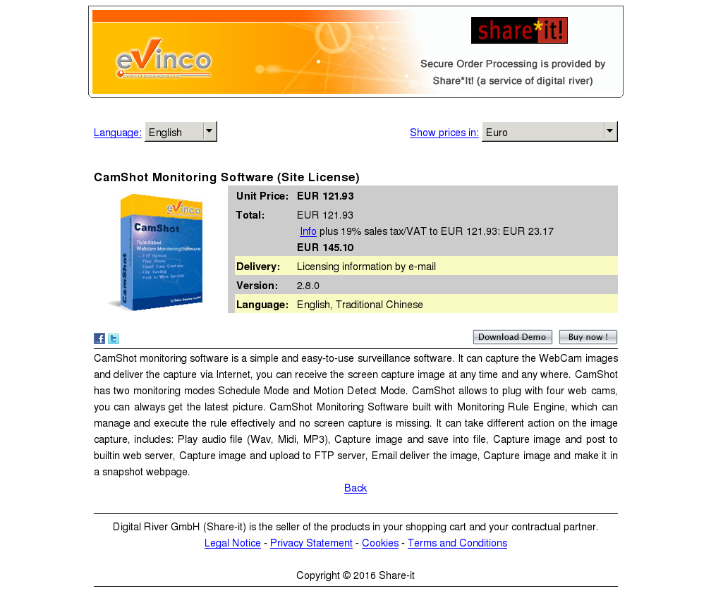 Camshot Monitoring Software Site License Free
