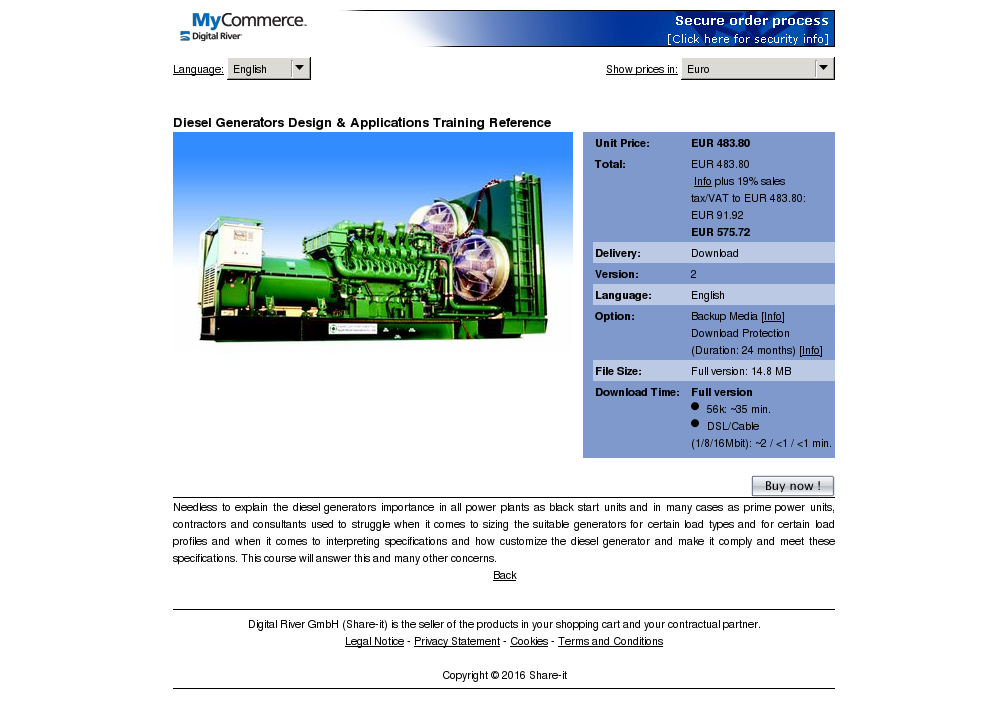 Diesel Generators Design Applications Training Reference Free