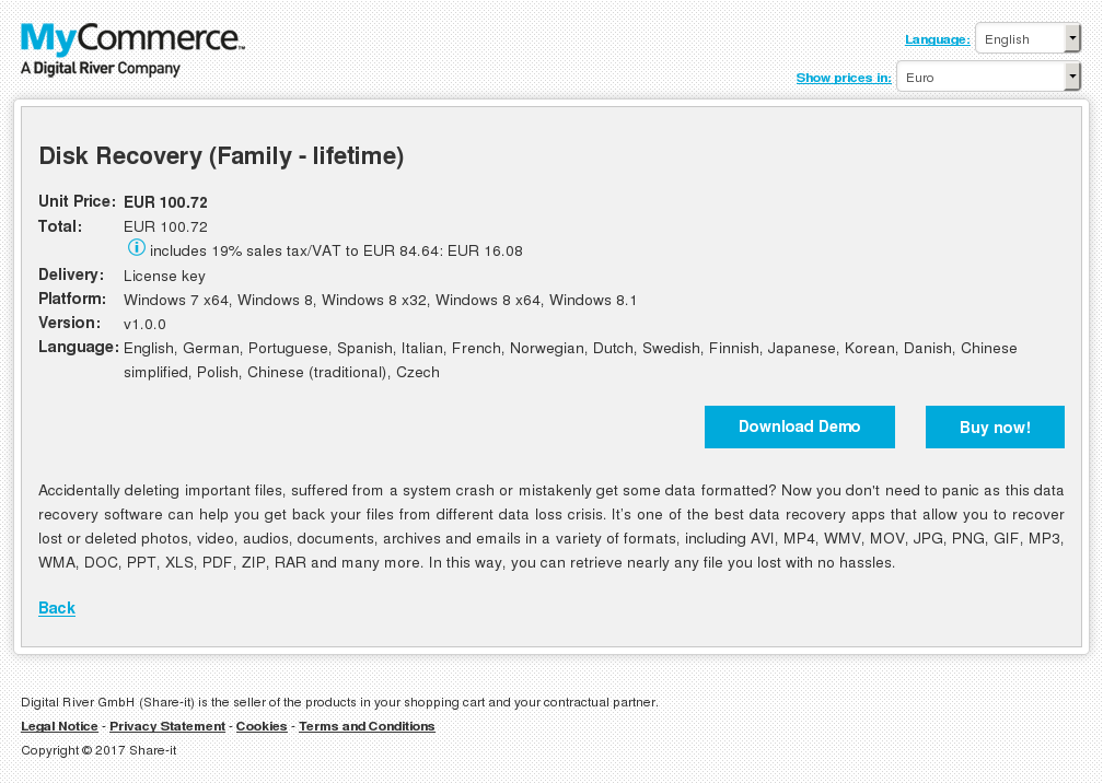Disk Recovery Family Lifetime Features
