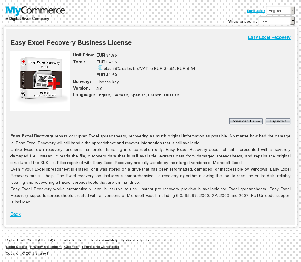 Easy Excel Recovery Business License Features