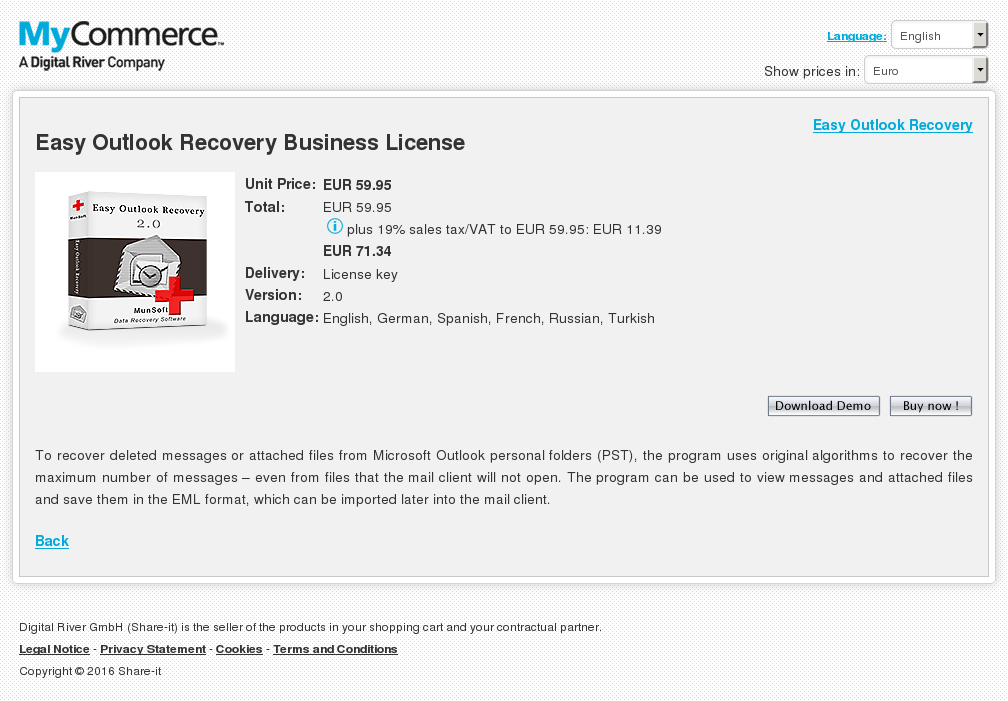 Easy Outlook Recovery Business License Key Information