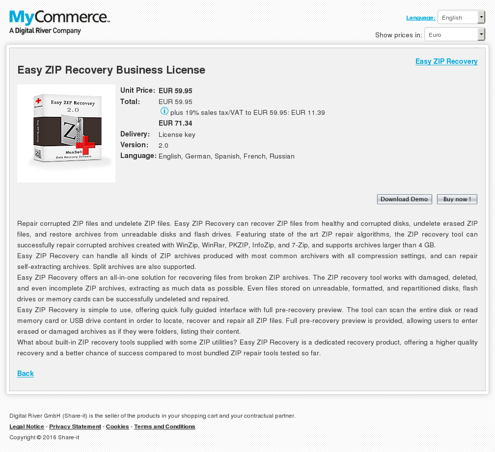 Easy Zip Recovery Business License Download