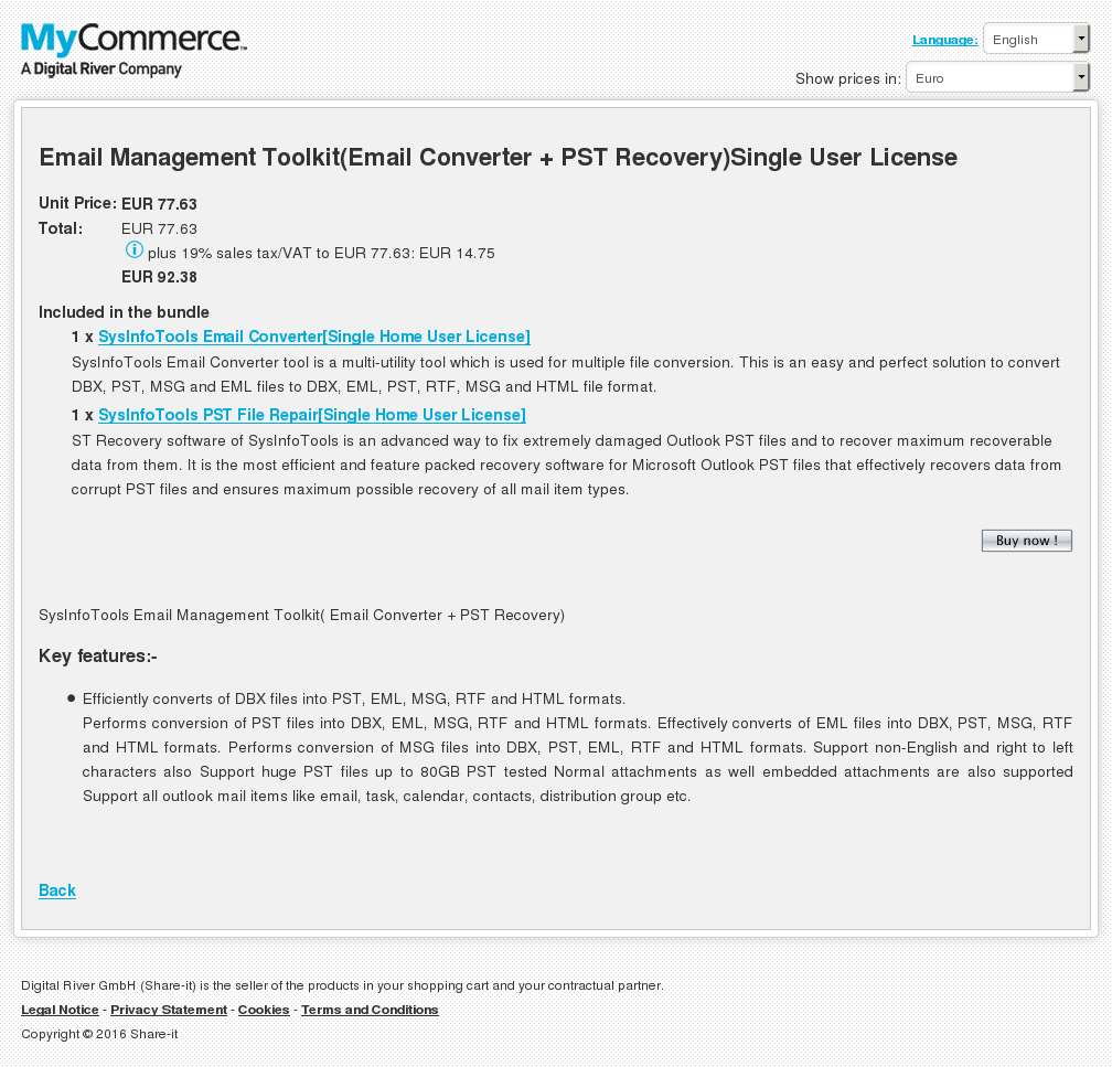 Email Management Toolkit Converter Pst Recovery Single User License Free