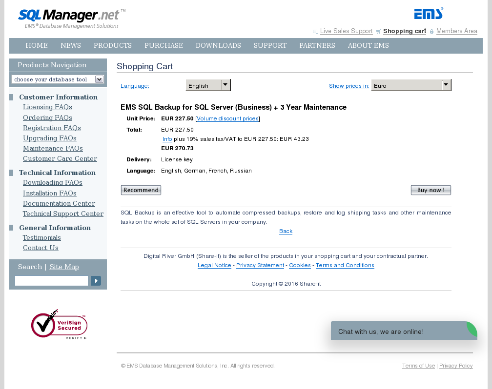 Ems Sql Backup Server Business Year Maintenance Features
