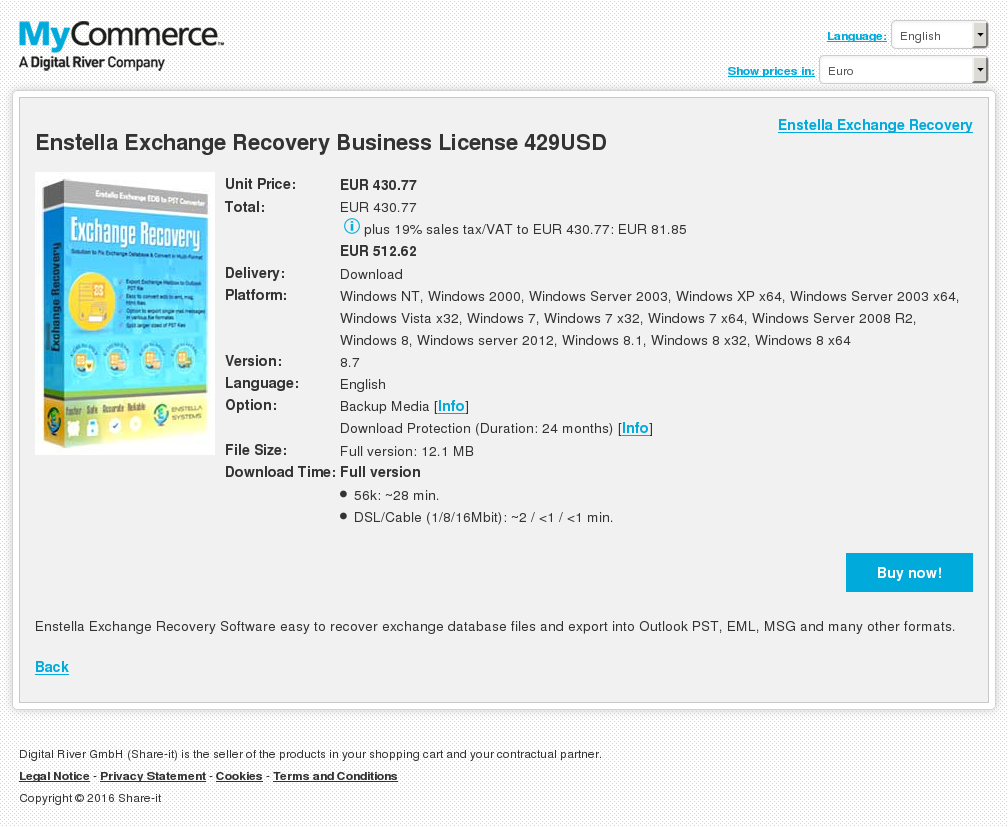 Enstella Exchange Recovery Business License Usd Features
