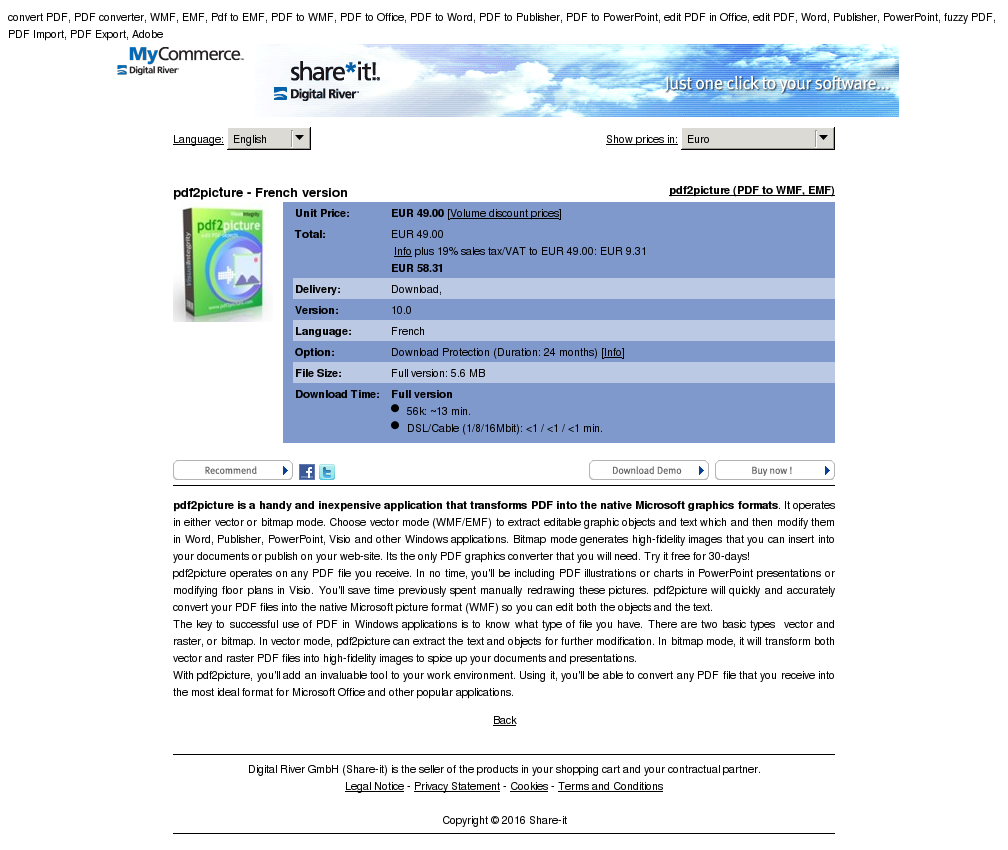 Pdfpicture French Version Features