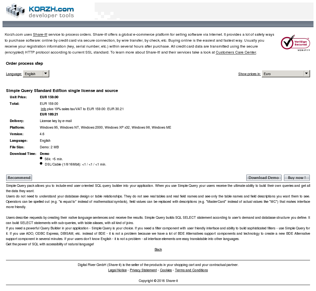 Simple Query Standard Edition Single License Source