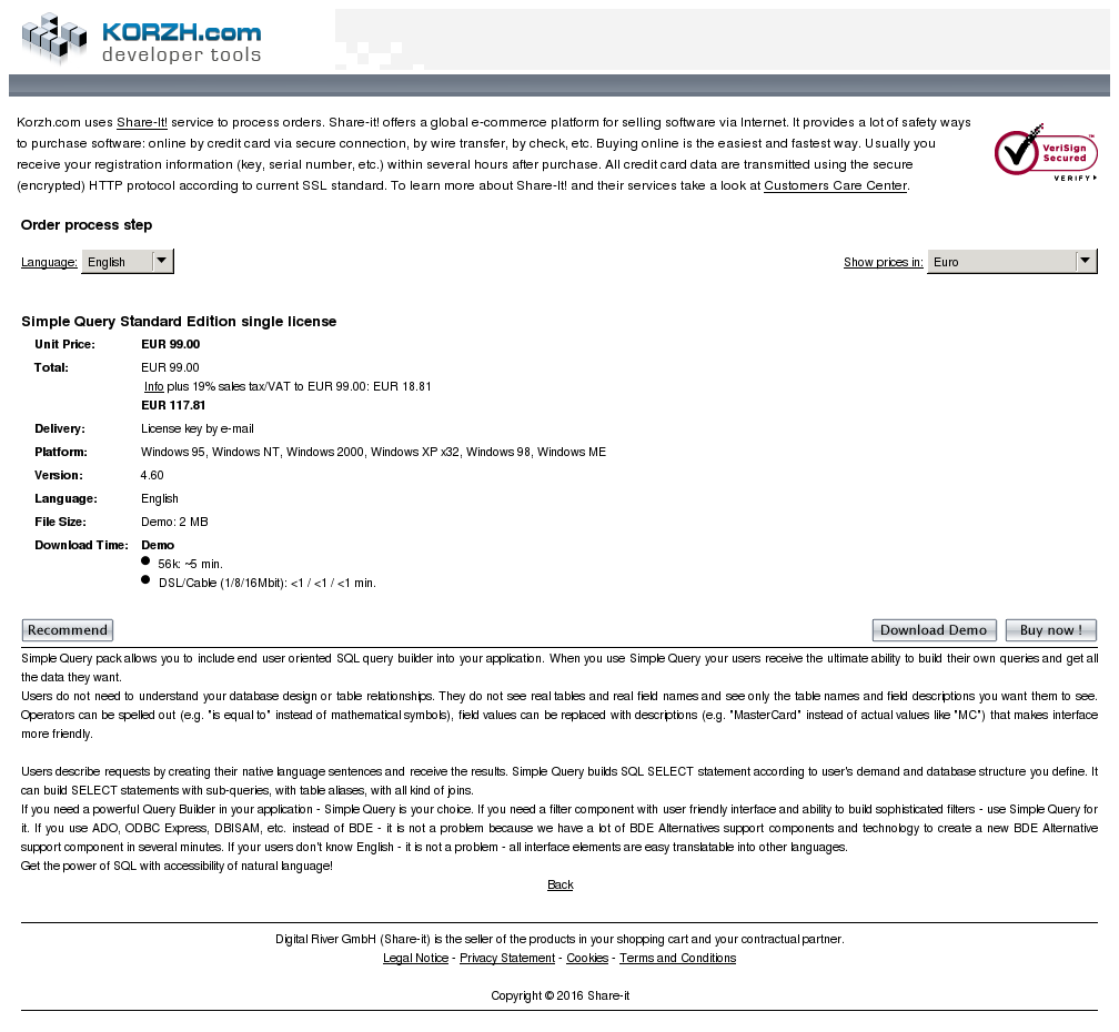 Simple Query Standard Edition Single License