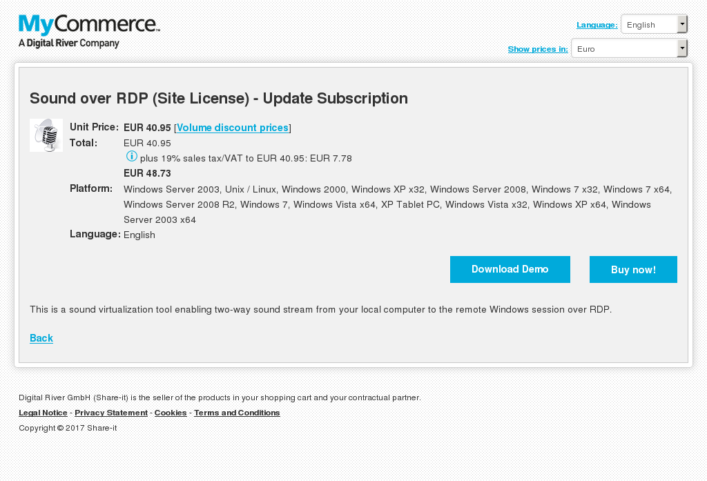Sound Over Rdp Site License Update Subscription Alternative