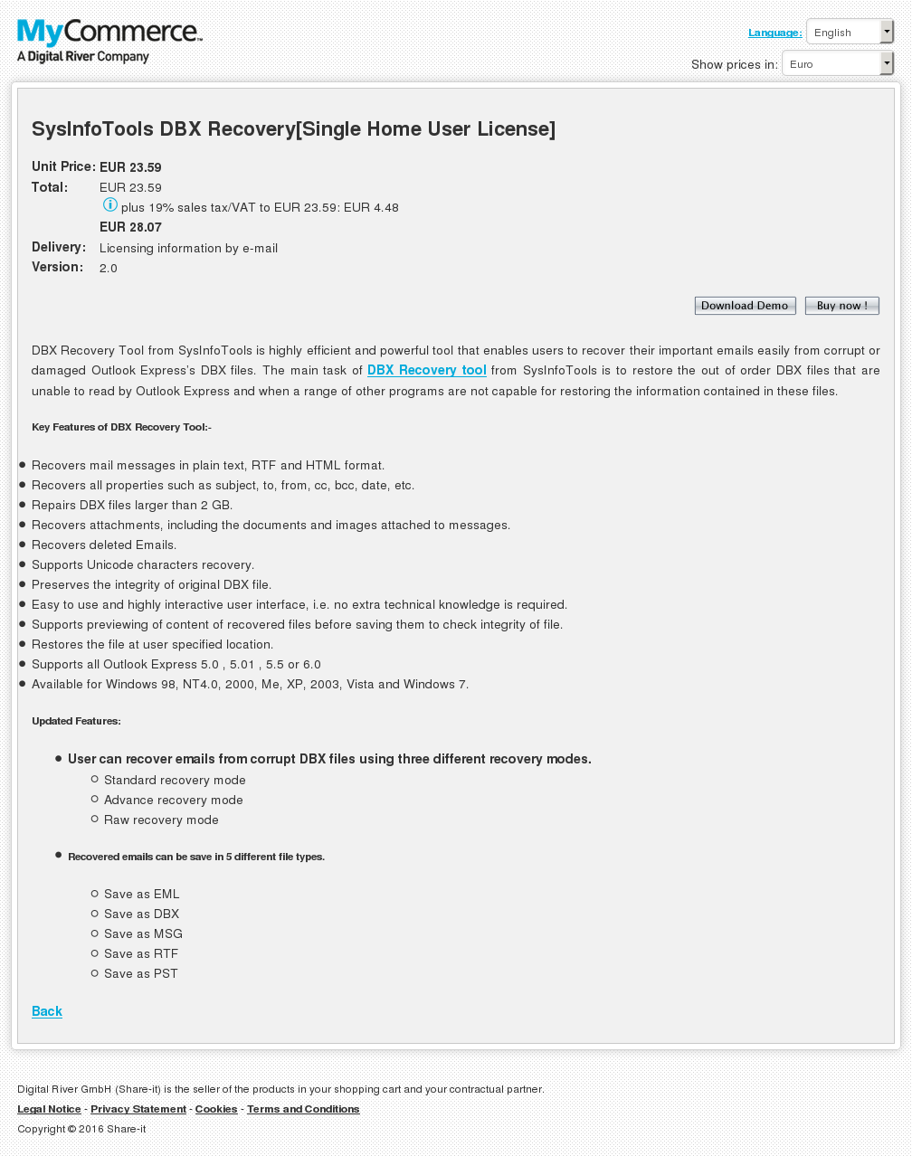 Sysinfotools Dbx Recovery Single Home User License Review