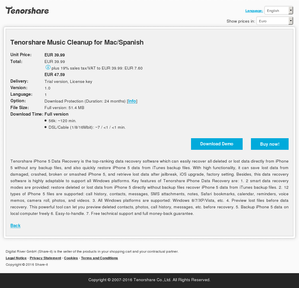 Tenorshare Music Cleanup Mac Spanish Features