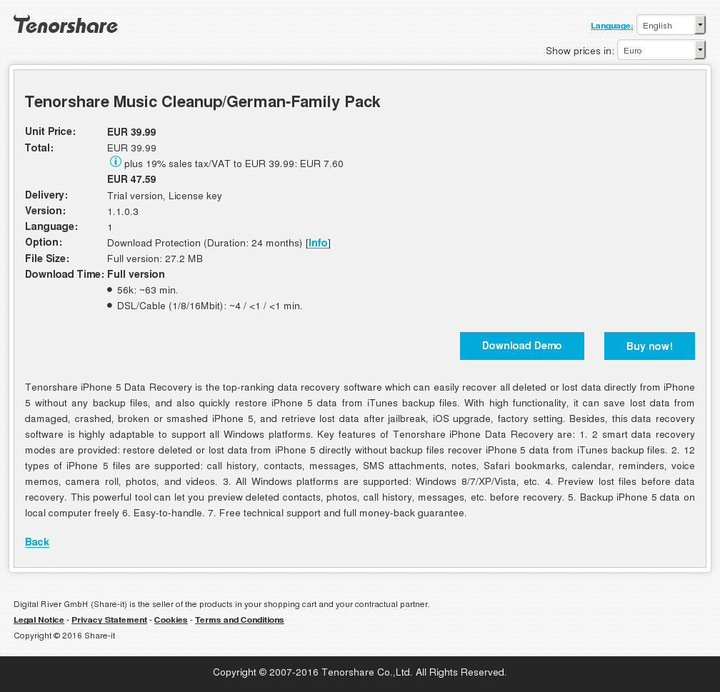 Tenorshare Music Cleanup German Family Pack Howto