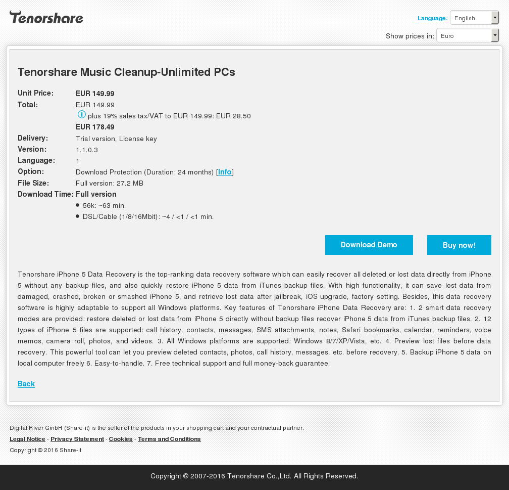 Tenorshare Music Cleanup Unlimited Pcs Key Information