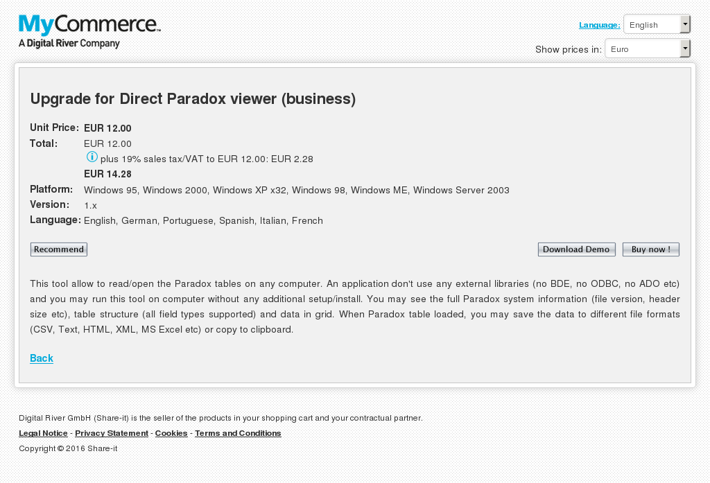 Upgrade Direct Paradox Viewer Business