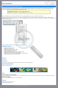 Ultra Screen Capture Expert Single User License preview. Click for more details